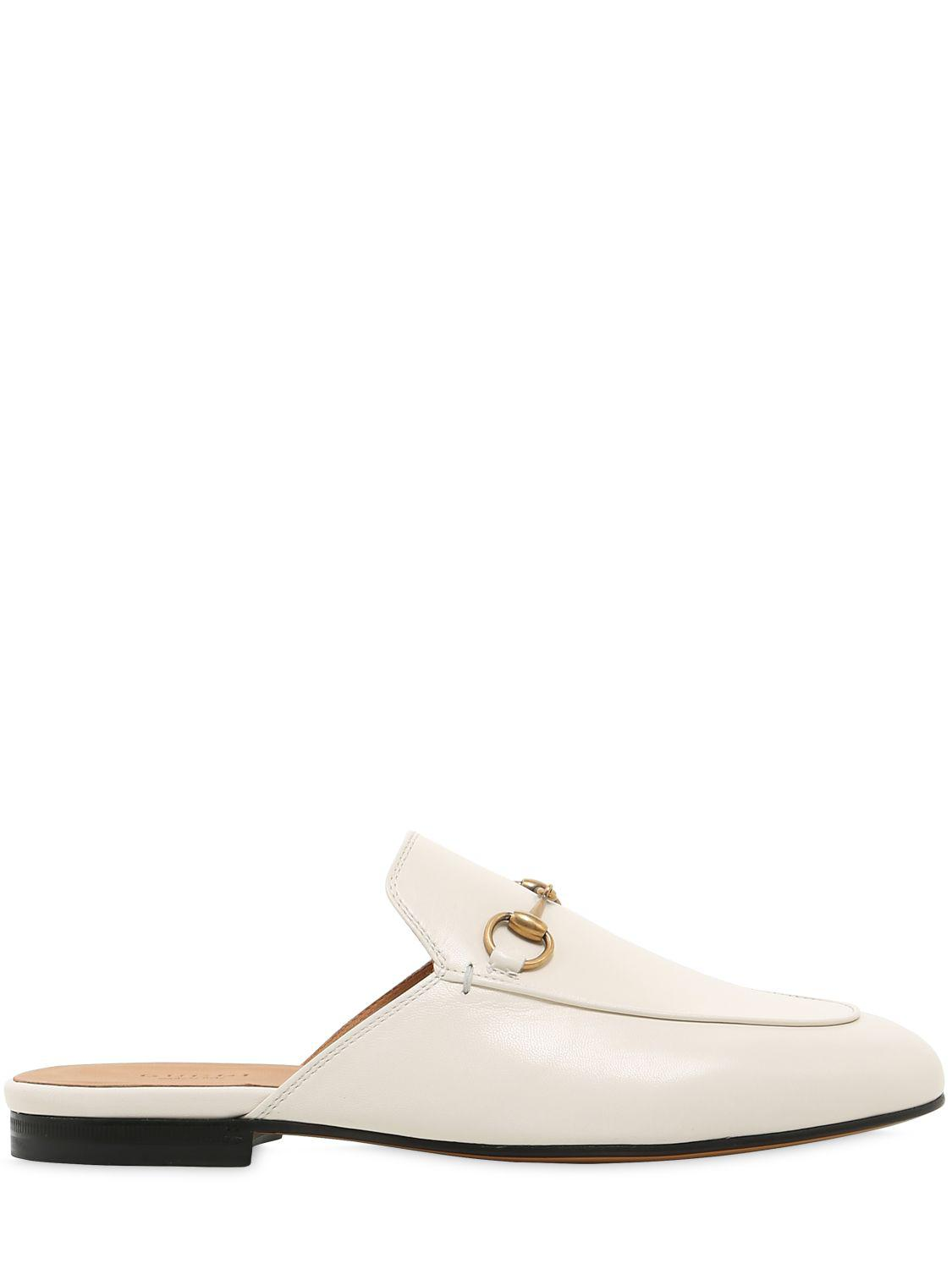 dbf5385c2f5 Lyst - Gucci 10mm Princetown Horsebit Leather Mules in White