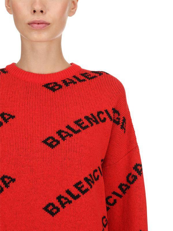 Balenciaga - Red Intarsia Logo Wool Blend Sweater - Lyst. View fullscreen c3110a28a