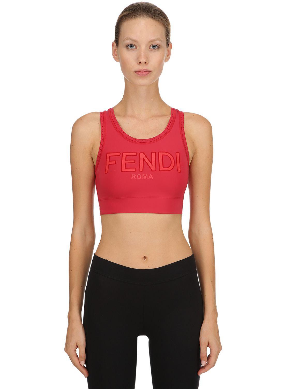 2d044b52b Fendi Logo Printed Stretch Jersey Bra Top in Red - Lyst