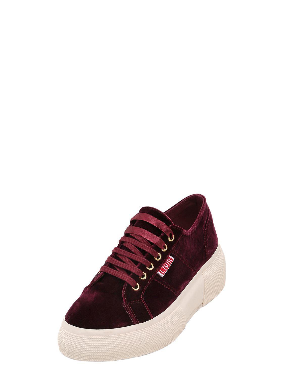 132e34ee283 Lyst - Superga Lvr Editions Velvet Platform Sneakers in Red