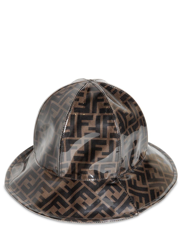 Lyst - Fendi Ff Logo Plastic Cover Silk Rain Hat in Black for Men 477d46f9a07