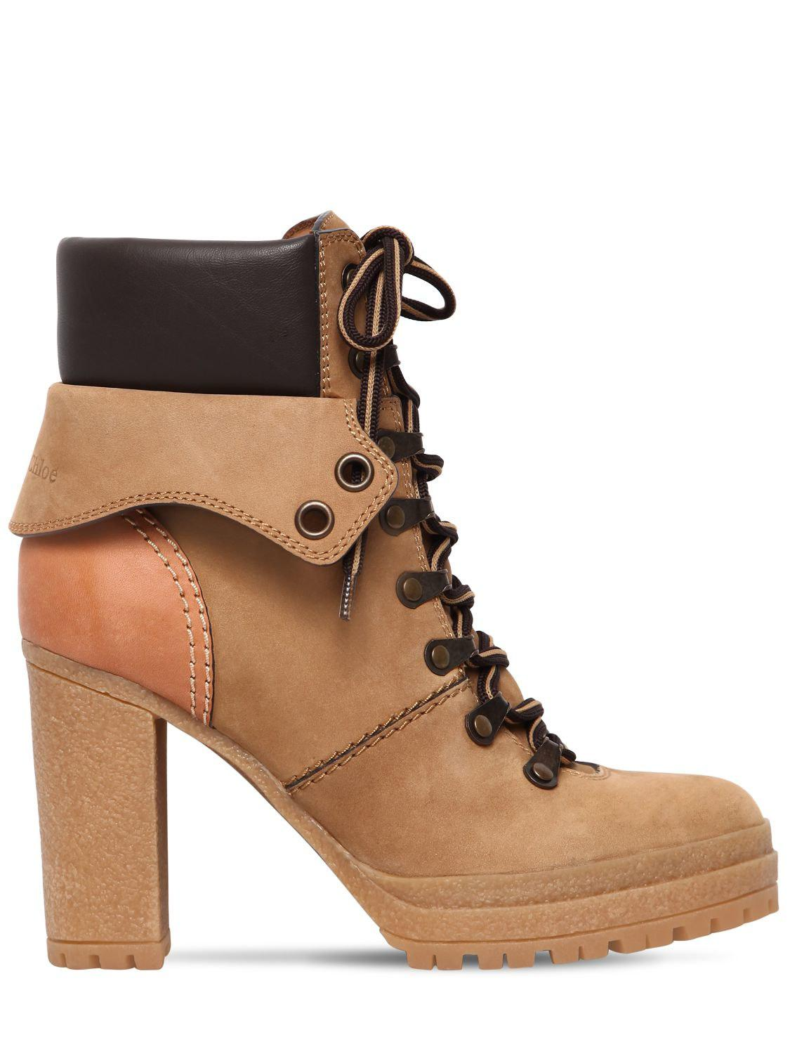 800e045387e4f Lyst - Botas De Montaña De Ante 100mm See By Chloé de color Marrón