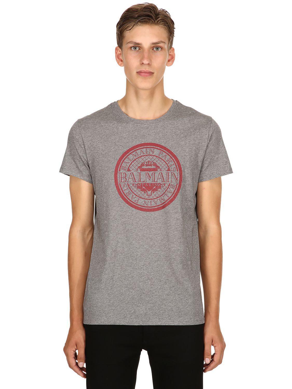 81c8eb1e Lyst - Balmain Logo Crest Printed Cotton Jersey T-shirt in Gray for Men