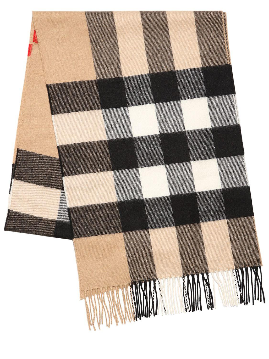 84c5b73f11df Burberry Macro Check Fringed Cashmere Scarf in Black for Men - Lyst