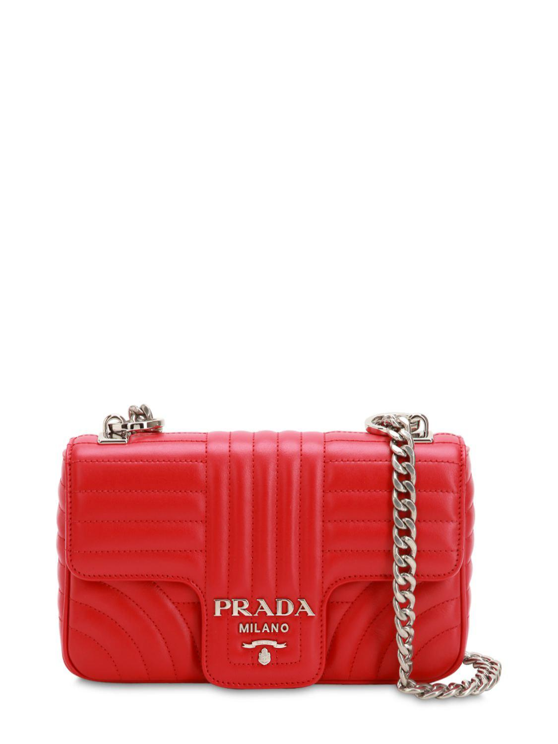 efe5f41695e4 Prada Small Quilted Soft Leather Shoulder Bag in Red - Save 3% - Lyst
