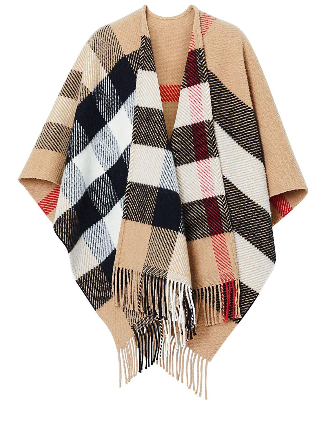 477aeca2c Burberry Classic Check Wool & Cashmere Cape - Lyst