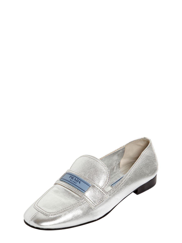 Silver logo leather loafers - Metallic Prada amCTi