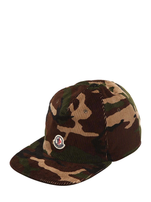 Lyst - Moncler Logo Detail Camo Corduroy Hat for Men 8de0c2581ac