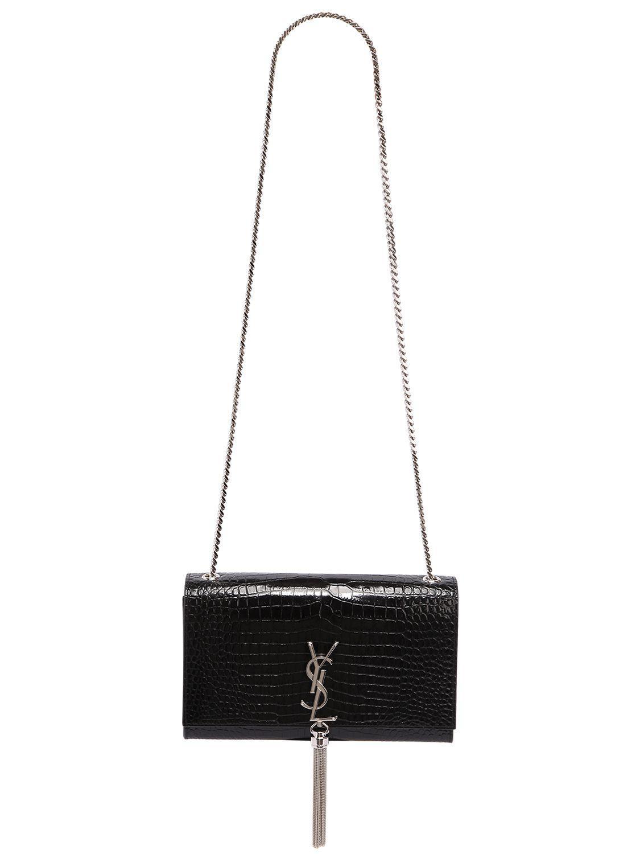 c2a18e4d2d Lyst - Saint Laurent Medium Kate Monogram Croc Embossed Bag in Black - Save  19%