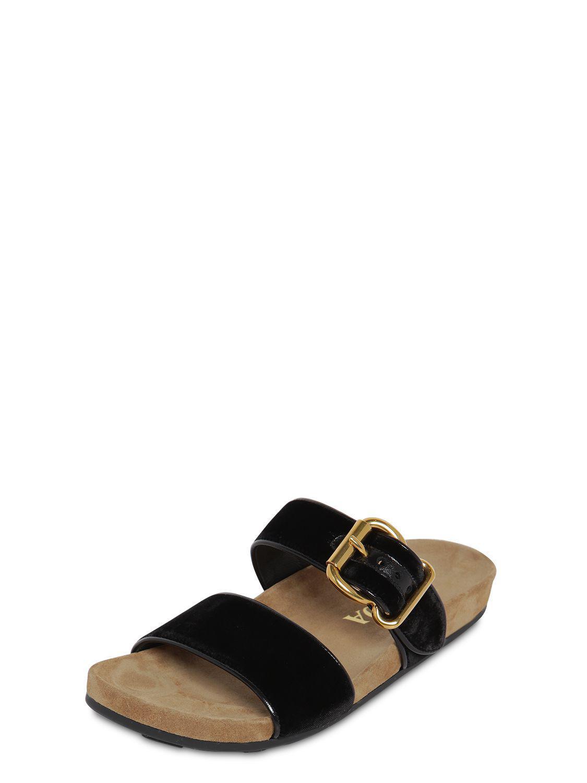 899963f08290 Lyst - Prada 20mm Double Strap Velvet Sandals in Black