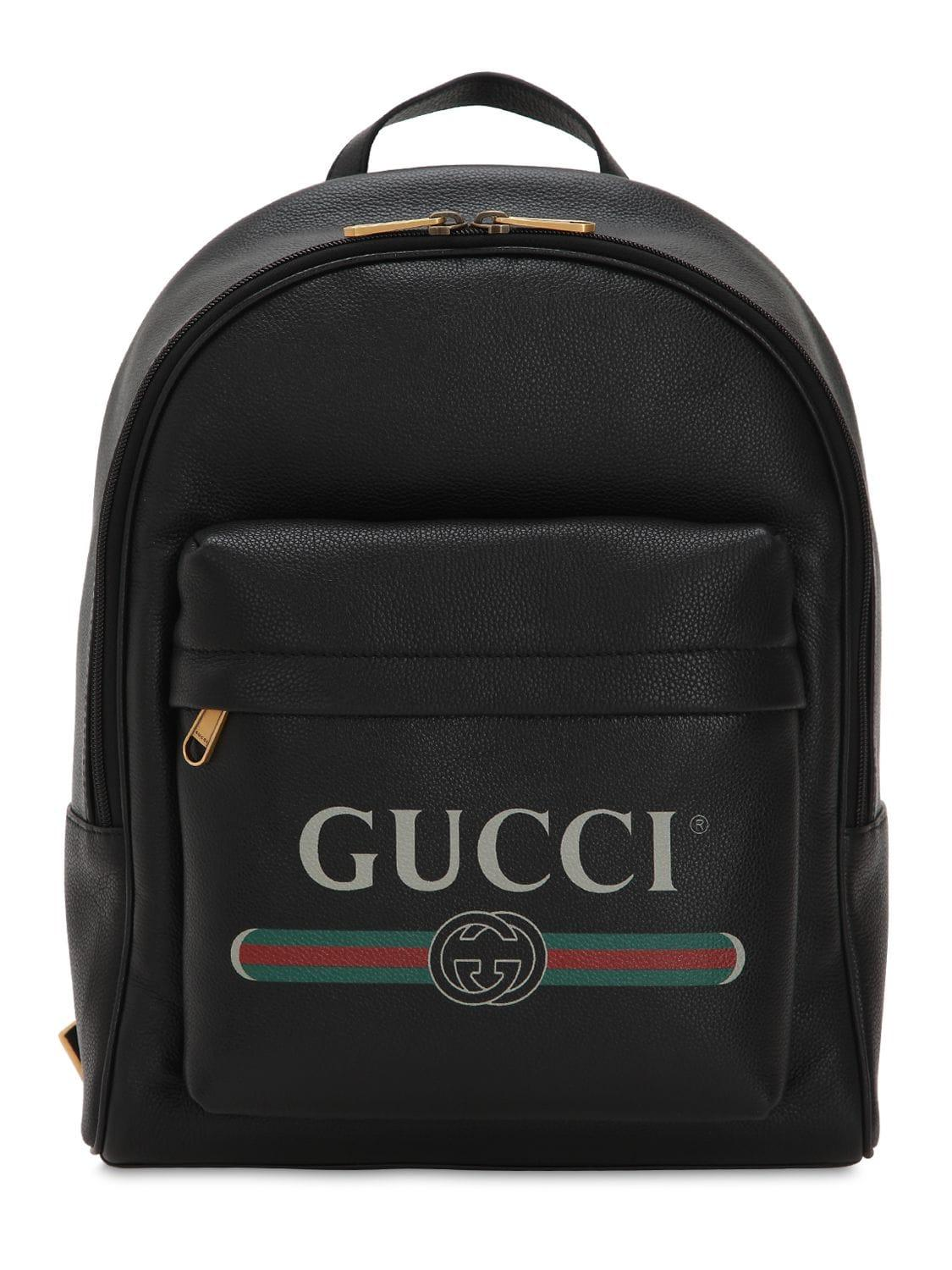 0aebfbf66bd0 Gucci - Black Logo Leather Backpack for Men - Lyst. View fullscreen