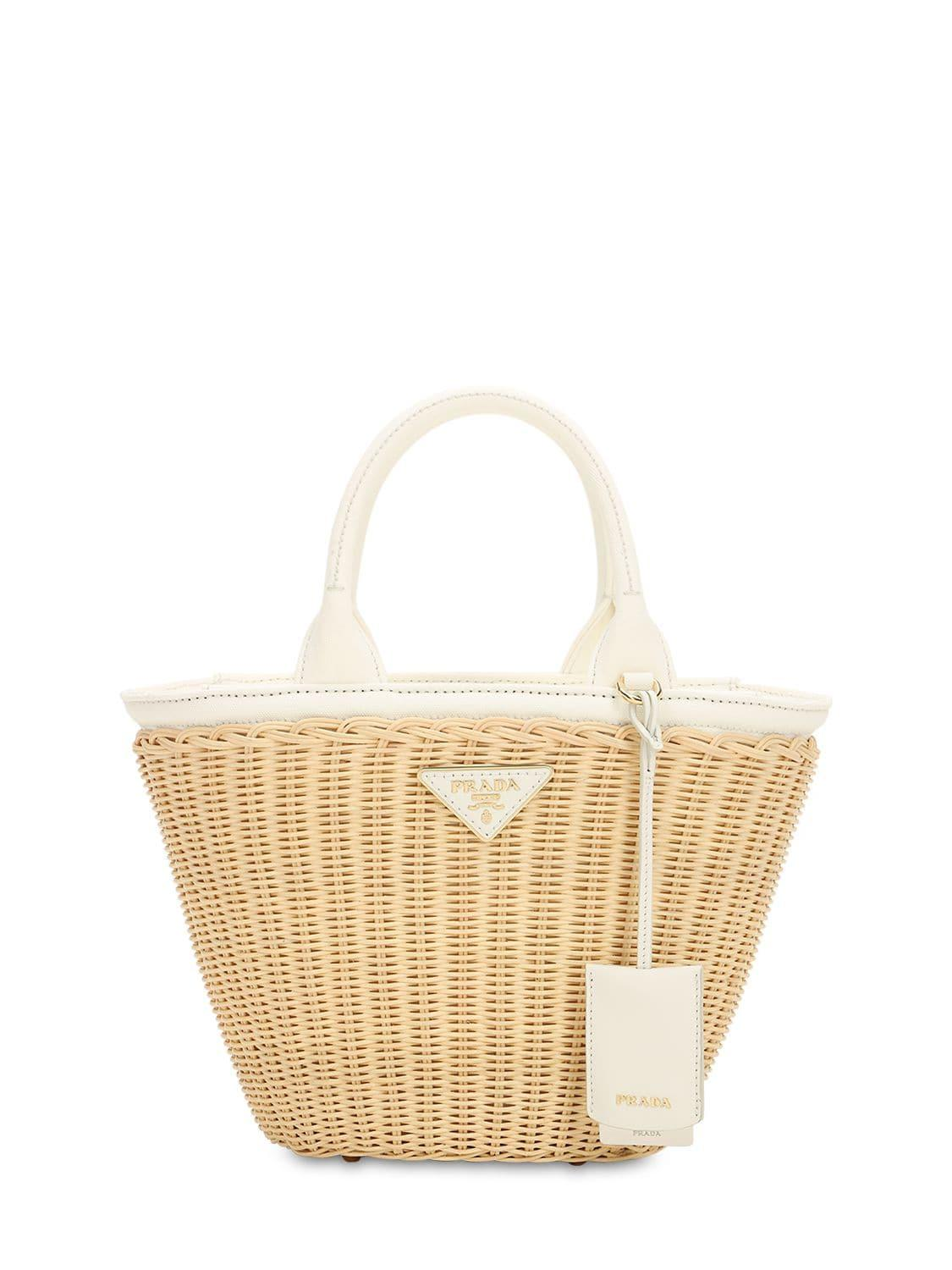 9174d42420f520 Prada - Natural Canvas & Wicker Top Handle Bag - Lyst. View fullscreen