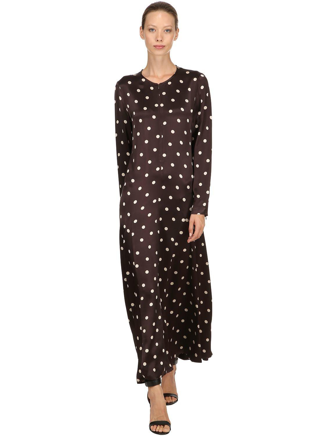 fde8b840 Ganni Cameron Polka Dots Satin Viscose Dress in Brown - Lyst