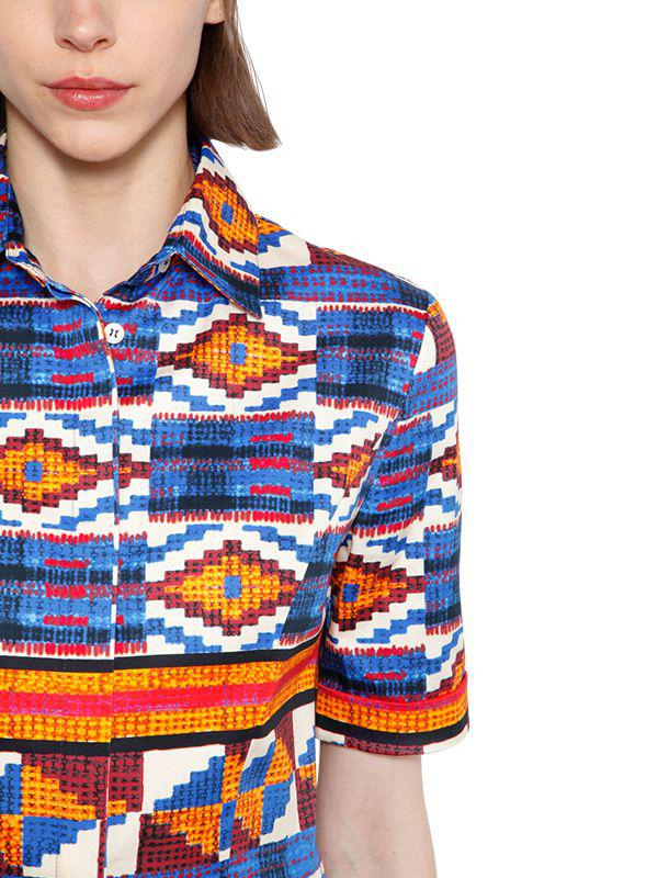 9cb87c35 Stella Jean Geometric Print Plisse Cotton Dress in Blue - Save 59% - Lyst