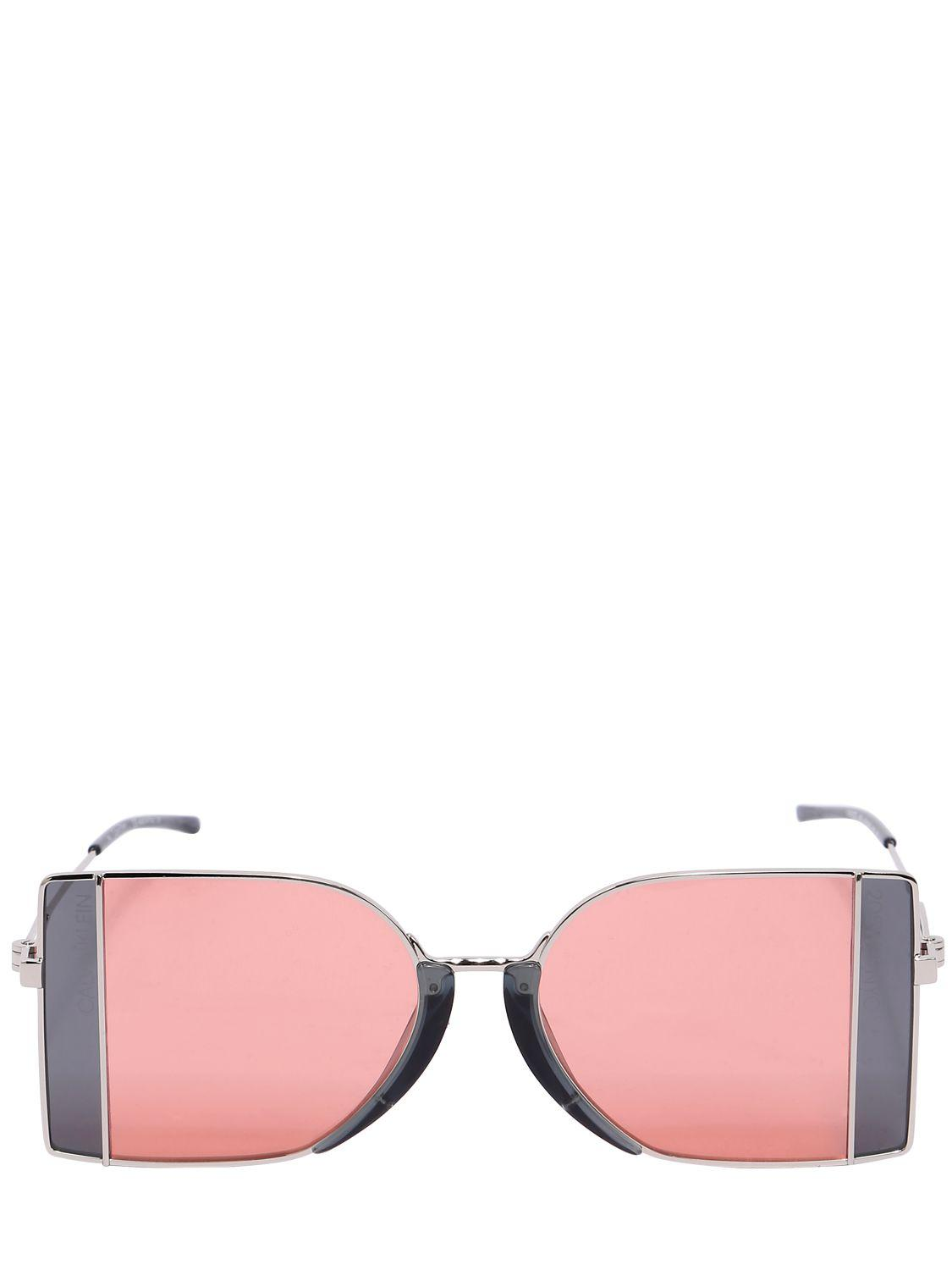c99bff14a74 Lyst - CALVIN KLEIN 205W39NYC Squared See-thru Lens Sunglasses in Pink