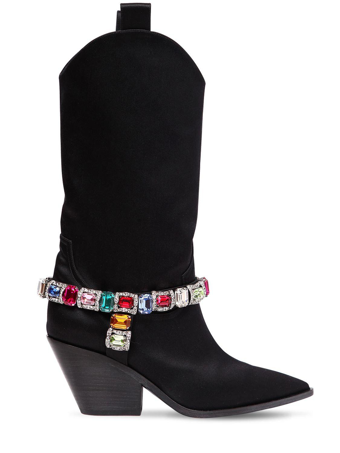 Lyst - Casadei 60mm Rodeo Crystals Satin Cowboy Boots in Black ... 93e591d36aa