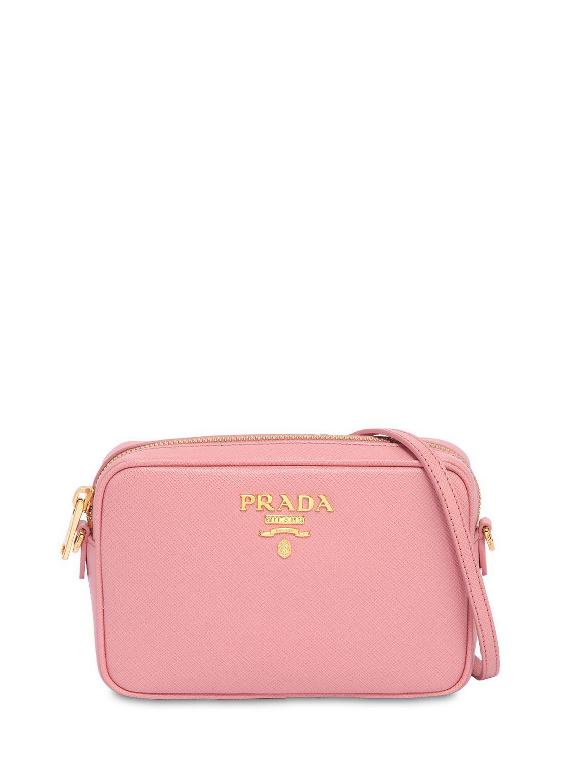 7fc5ad794 ... get lyst prada saffiano leather camera bag in pink d61eb 0059c ...