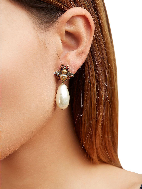 ecfc9e328 Gucci Bee Imitation Pearl Earrings in Metallic - Lyst