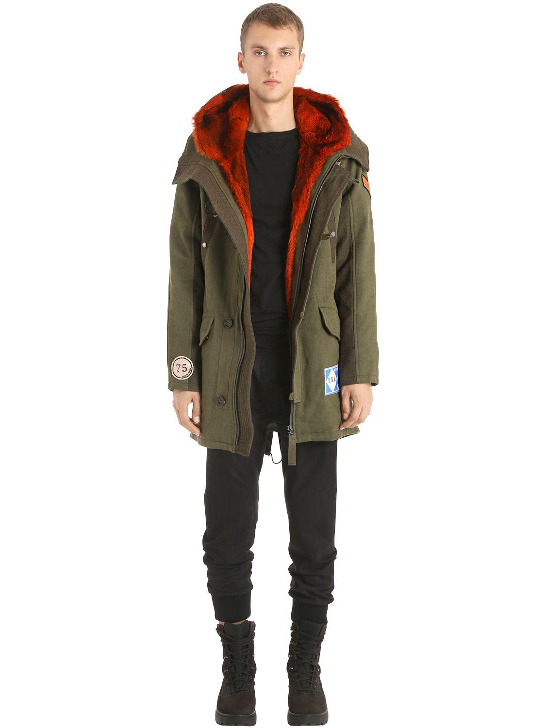 Men Lining Gabardine Wool Yves Parka W Fullscreen Salomon Army View Fur Green Lyst For vvg8B