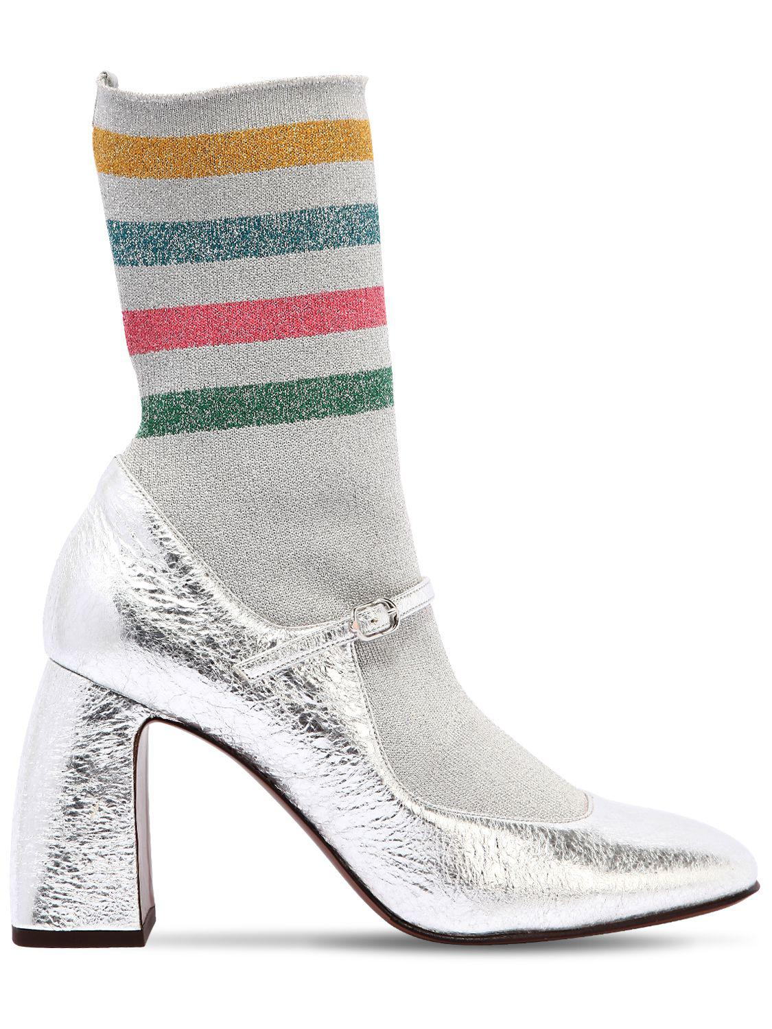 L Autre Chose 90MM SOCK CRACKLED LEATHER BOOTS