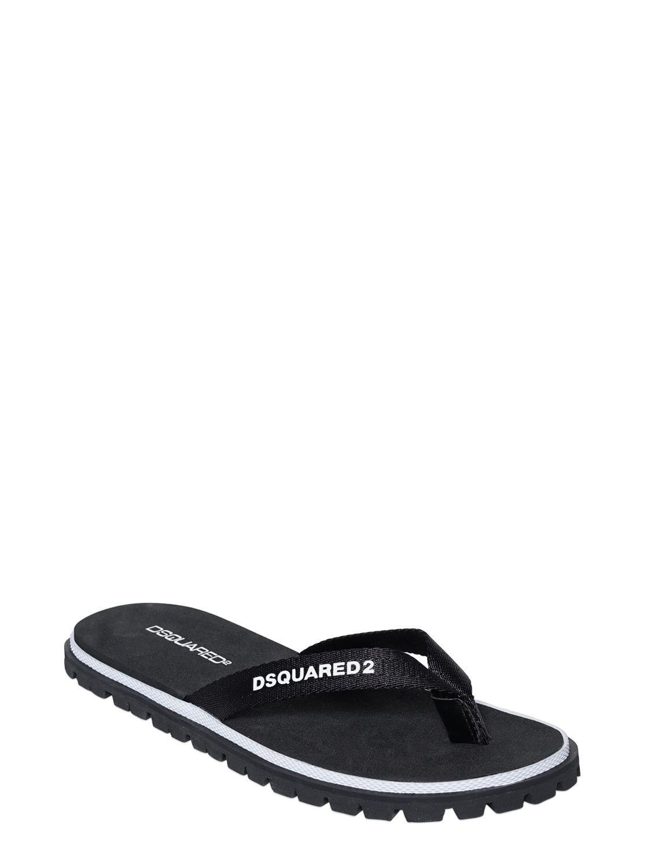 bd71459b2 Lyst - DSquared² Logo Printed Nylon Flip Flops in Black for Men