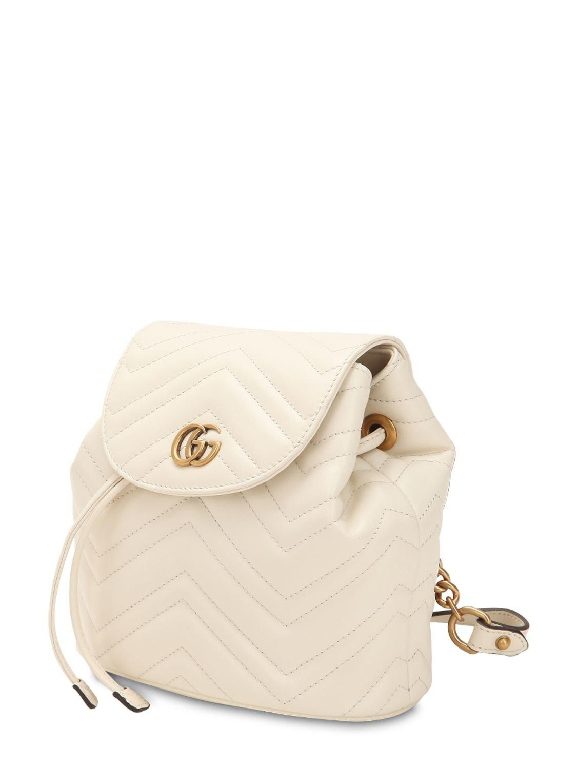 f0840b424444 Gucci - White Mini Gg Marmont Leather Backpack - Lyst. View fullscreen