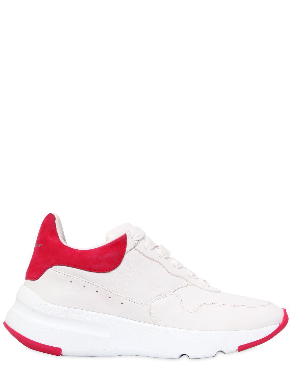 Alexander McQueen White & Pink Platform Running Sneakers 939TQSHQ