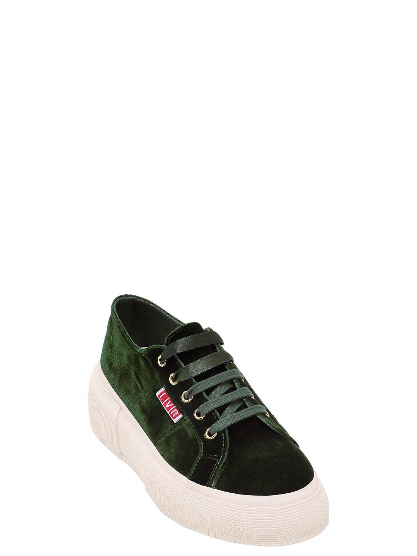 1d98d79780d Lyst - Superga Lvr Editions Velvet Platform Sneakers in Green