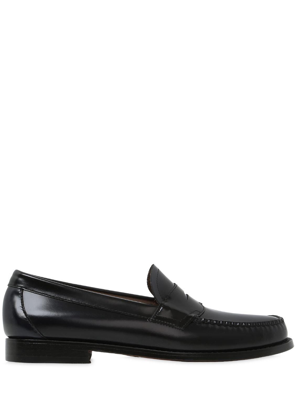 6193a59a341 G.H.BASS Weejun Logan 2 Tone Leather Penny Loafer in Black for Men ...