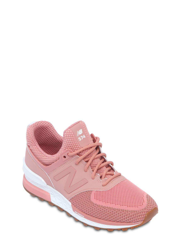 New Balance - Pink 574 Sport Mesh Mid Top Sneakers - Lyst. View fullscreen 43bba24619