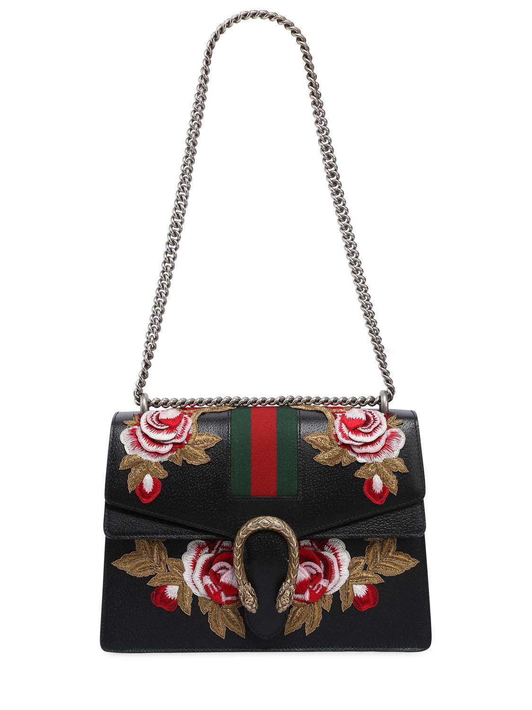 fda900eae00 Lyst Gucci Um Dionysus Bag W Flower Patches In Black