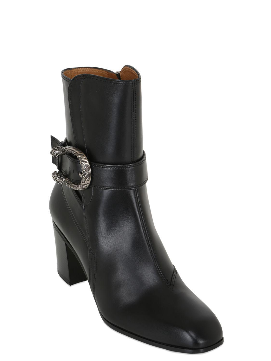 71075d1f5d2 Lyst - Gucci 65mm Dionysus Leather Ankle Boots in Black