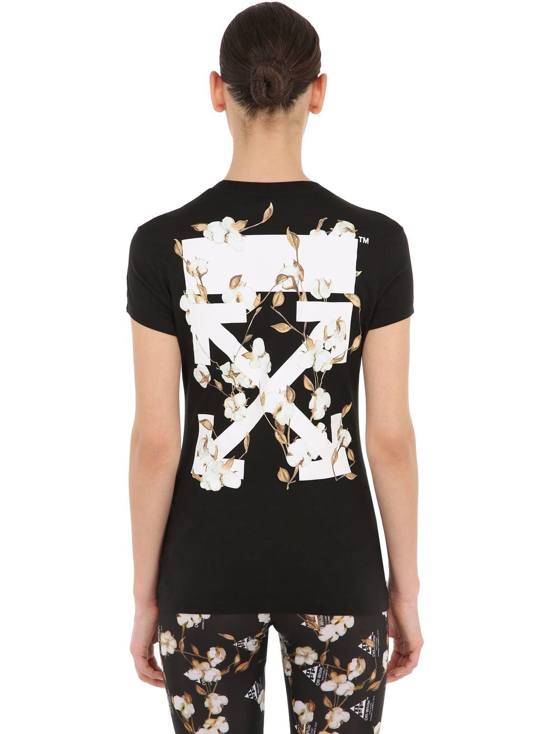 4c7e36fa607b Lyst - Off-White c o Virgil Abloh Logo Print Fitted Cotton Jersey T ...