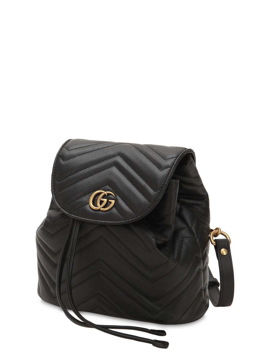 52d4c3104 Gucci Mini Gg Marmont Leather Backpack in Black - Save 7% - Lyst