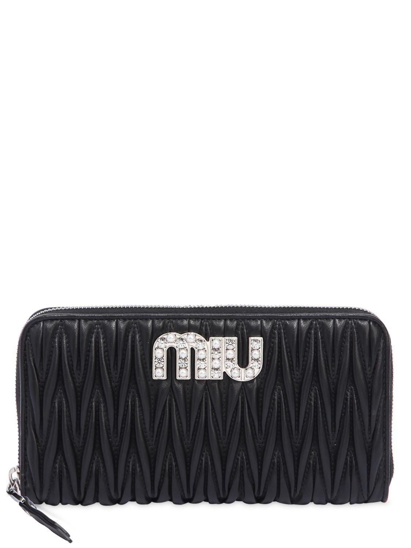 Leather zip around wallet Miu Miu f4vJlev5G