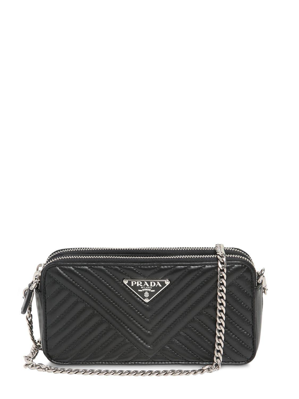 Prada - Black Quilted Nappa Leather Shoulder Bag - Lyst. View fullscreen ac69281049ec7