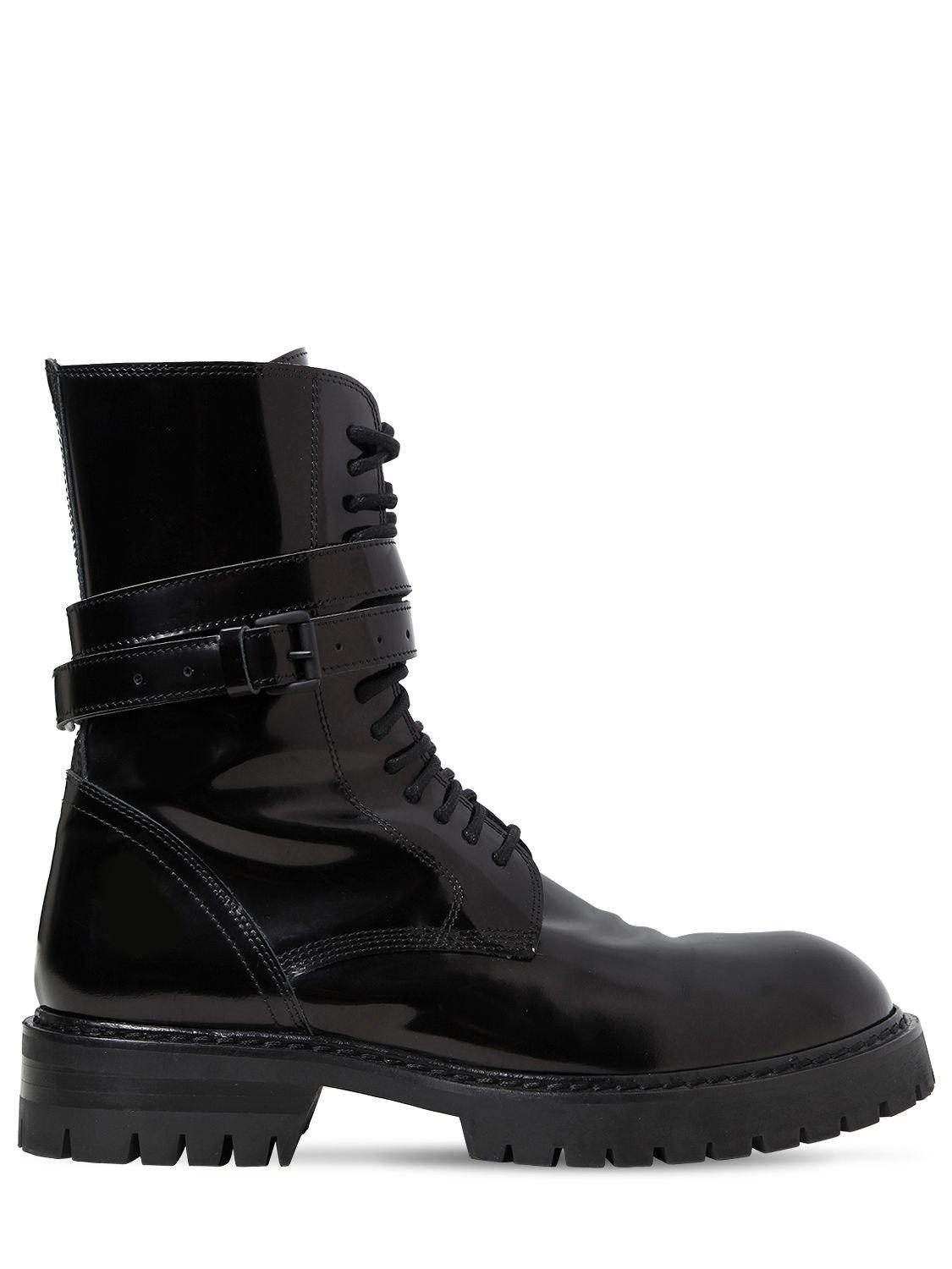 ANN DEMEULEMEESTER 30MM POLISHED LEATHER COMBAT BOOTS xx5x7seG
