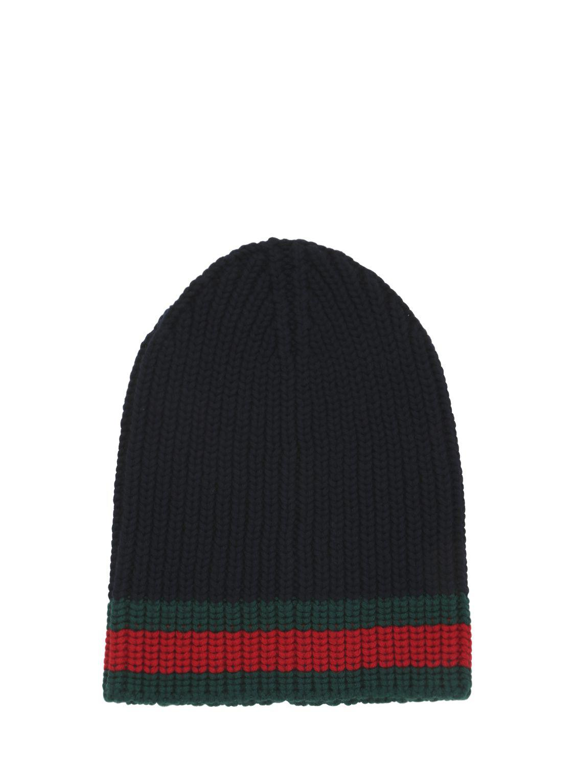 2fce1403e Gucci Web Wool Cable Knit Beanie Hat in Blue for Men - Lyst