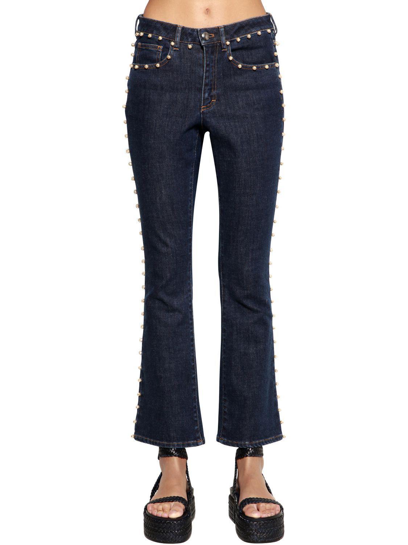 b1c4fab07c Sonia Rykiel Cropped Denim Jeans W/ Pearls in Blue - Lyst