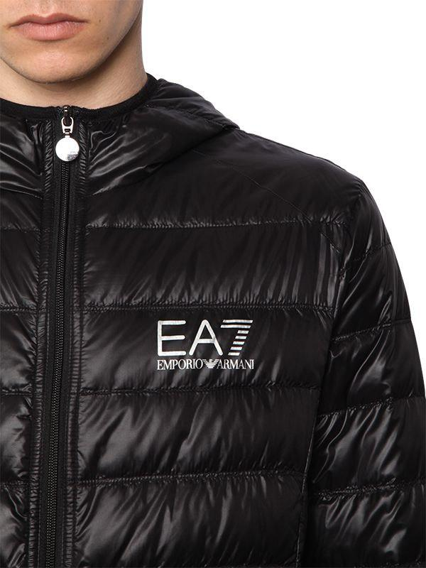 EA7 - Black Train Core Hooded Light Down Jacket for Men - Lyst. View  fullscreen d598029b991