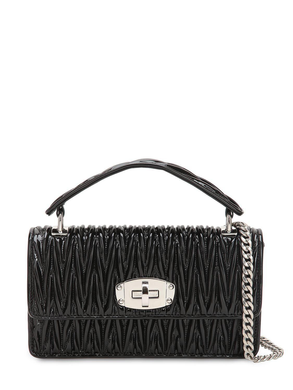 bc83deffd6a8 Miu Miu. Women s Black Vernice Matelasse Quilted Leather Shoulder Bag