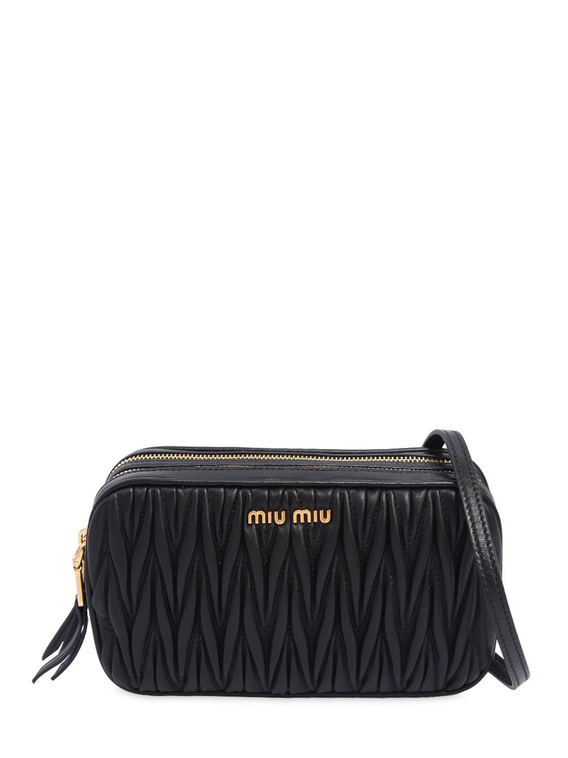 Lyst - Miu Miu Double Zip Quilted Leather Camera Bag in Black - Save 3% 26cac66cfadfd