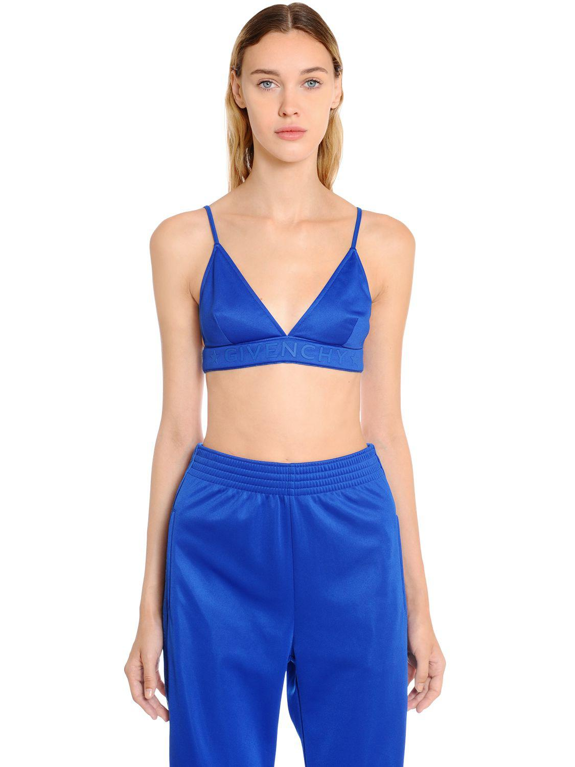 eaf0881a703b8 Lyst - Givenchy Logo Printed Neoprene Jersey Bra Top in Blue