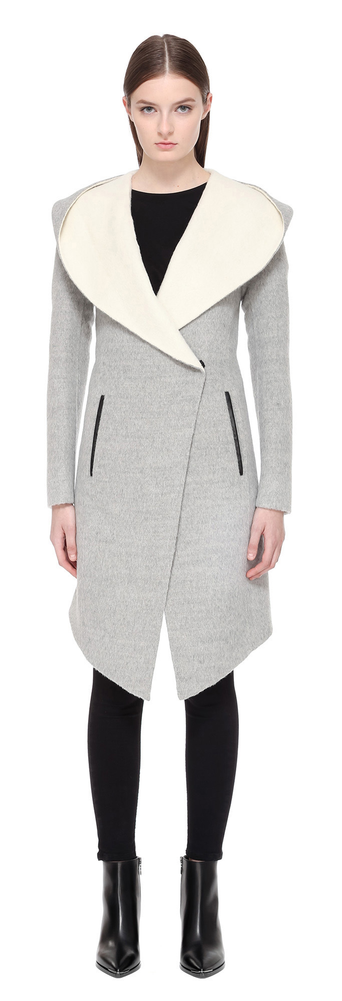 Mackage Joslyn Wool Coat With Waterfall Hood In Grey/off White in ...