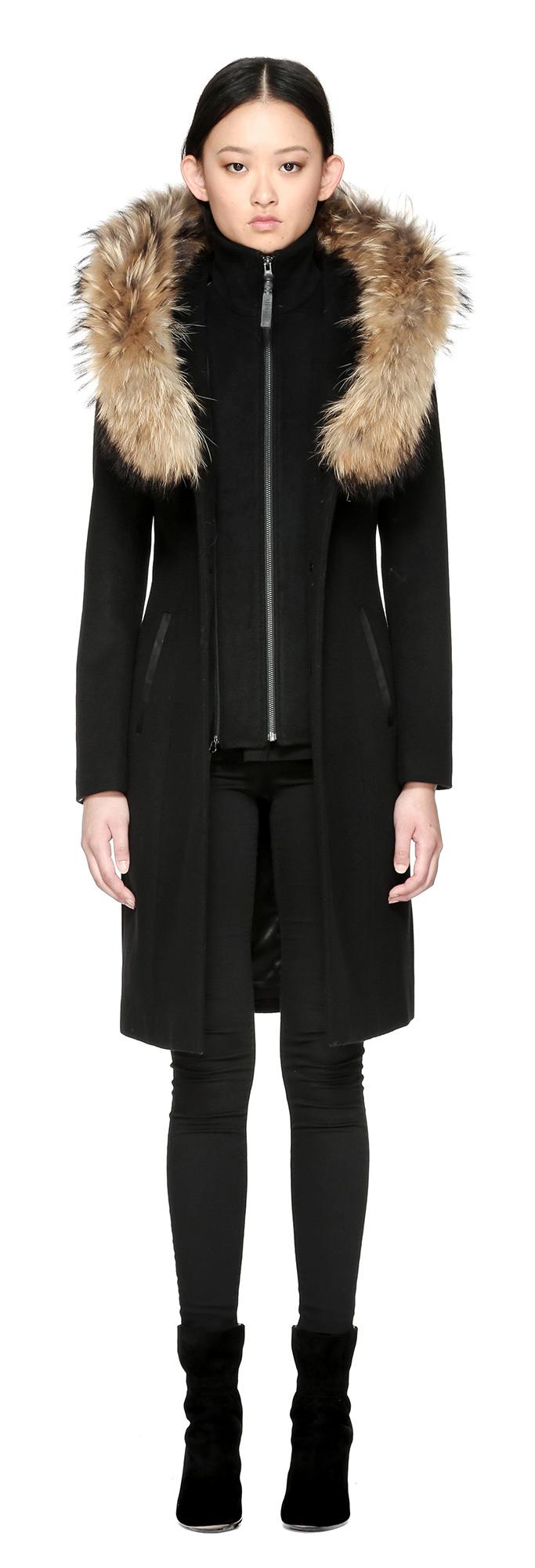 Women's black wool coat with hood – Fashionable jacket 2017 photo blog