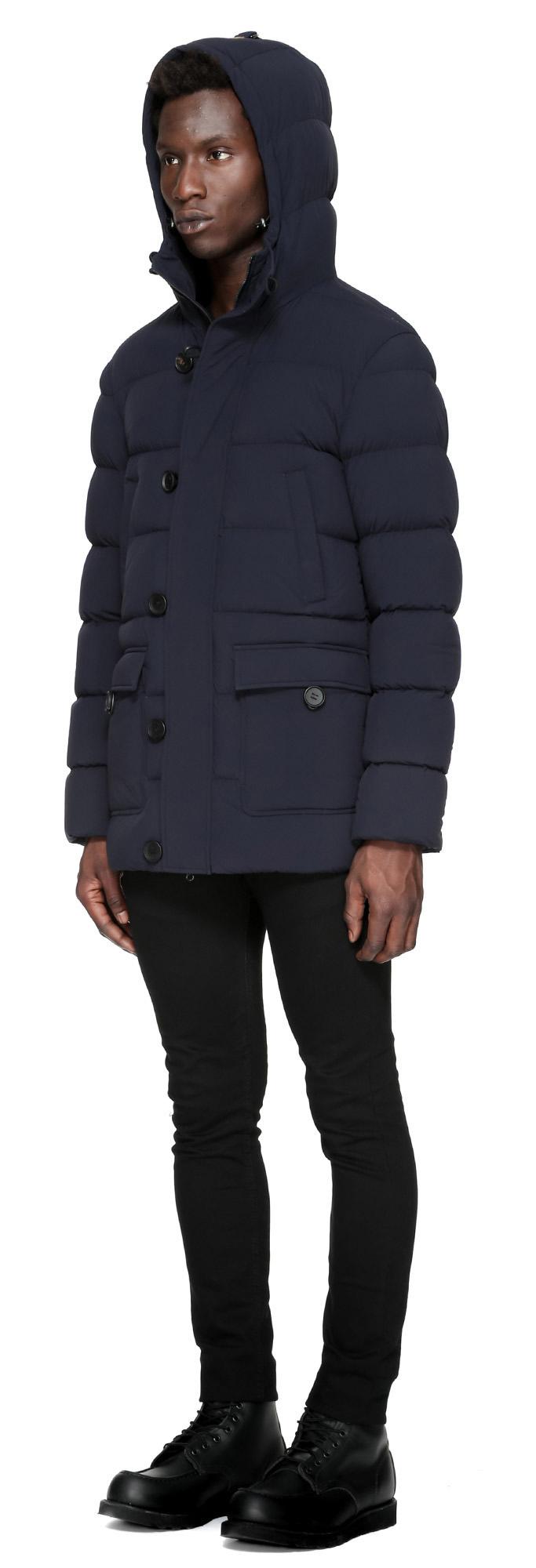 Mackage Viktor Hip Length Medium-weight Down Duffle Coat In Navy ...