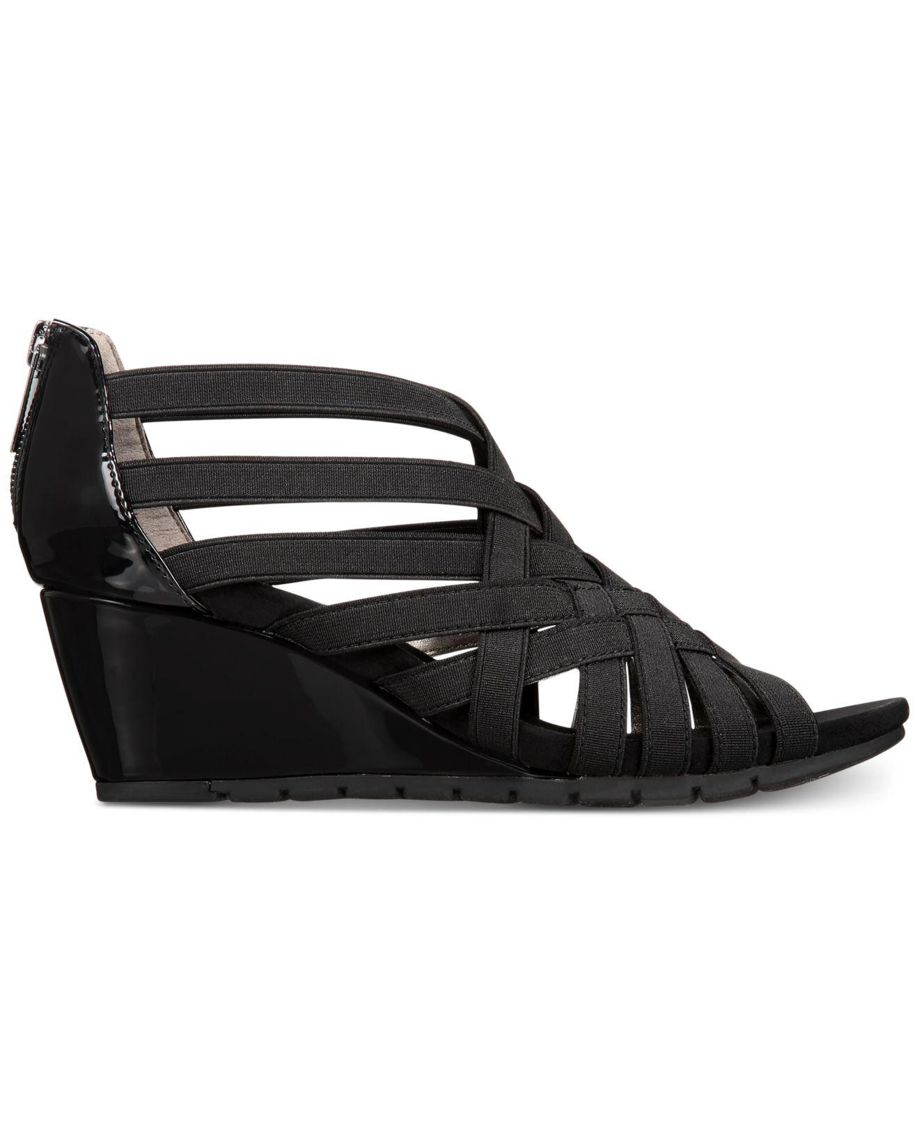 bbd820516e Lyst - Bandolino Gillmiro Strappy Wedge Sandals in Black