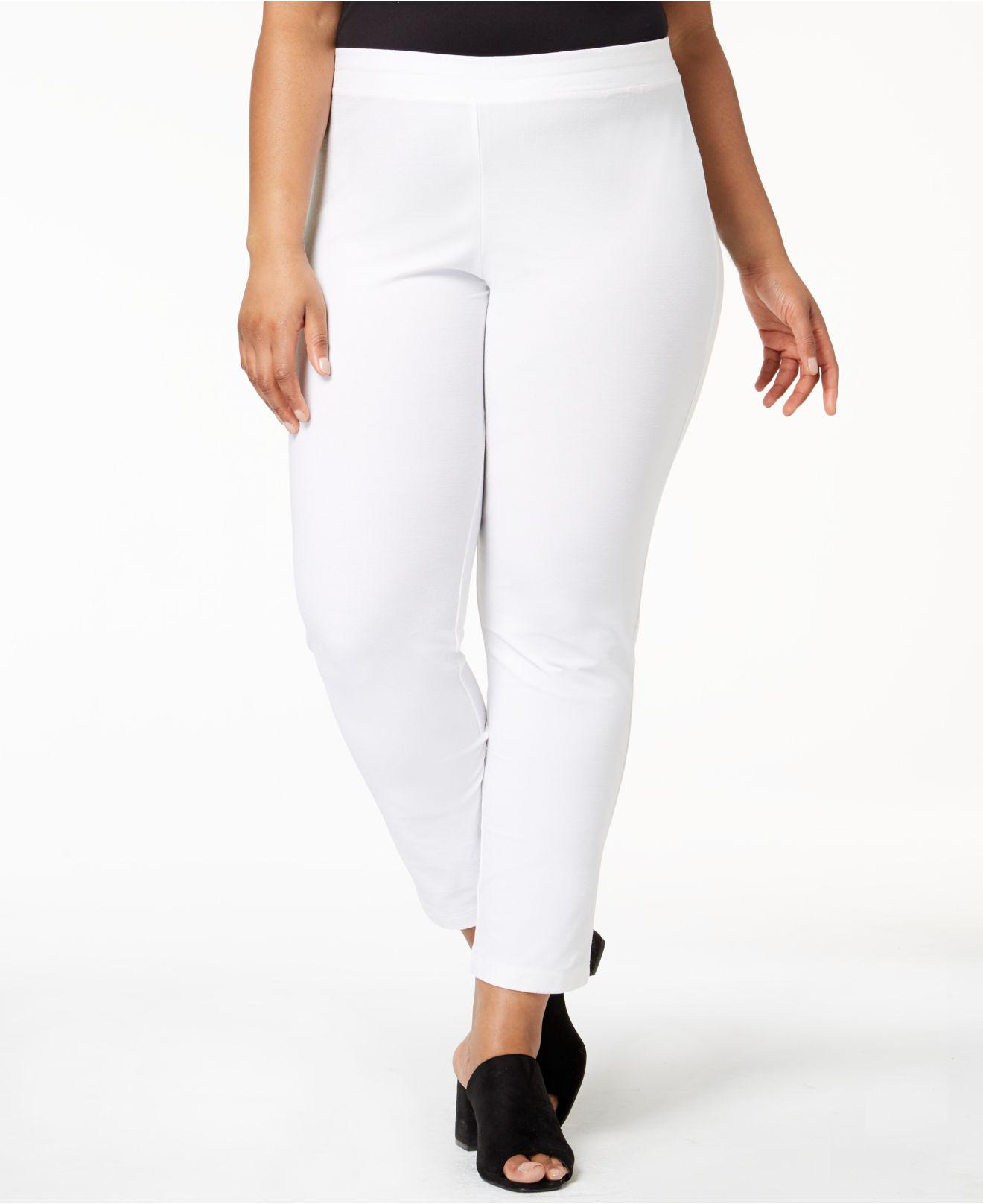 1fef4bbed84 Eileen Fisher. Women s White Plus Size System Washable Crepe Slim-leg Ankle  Pants