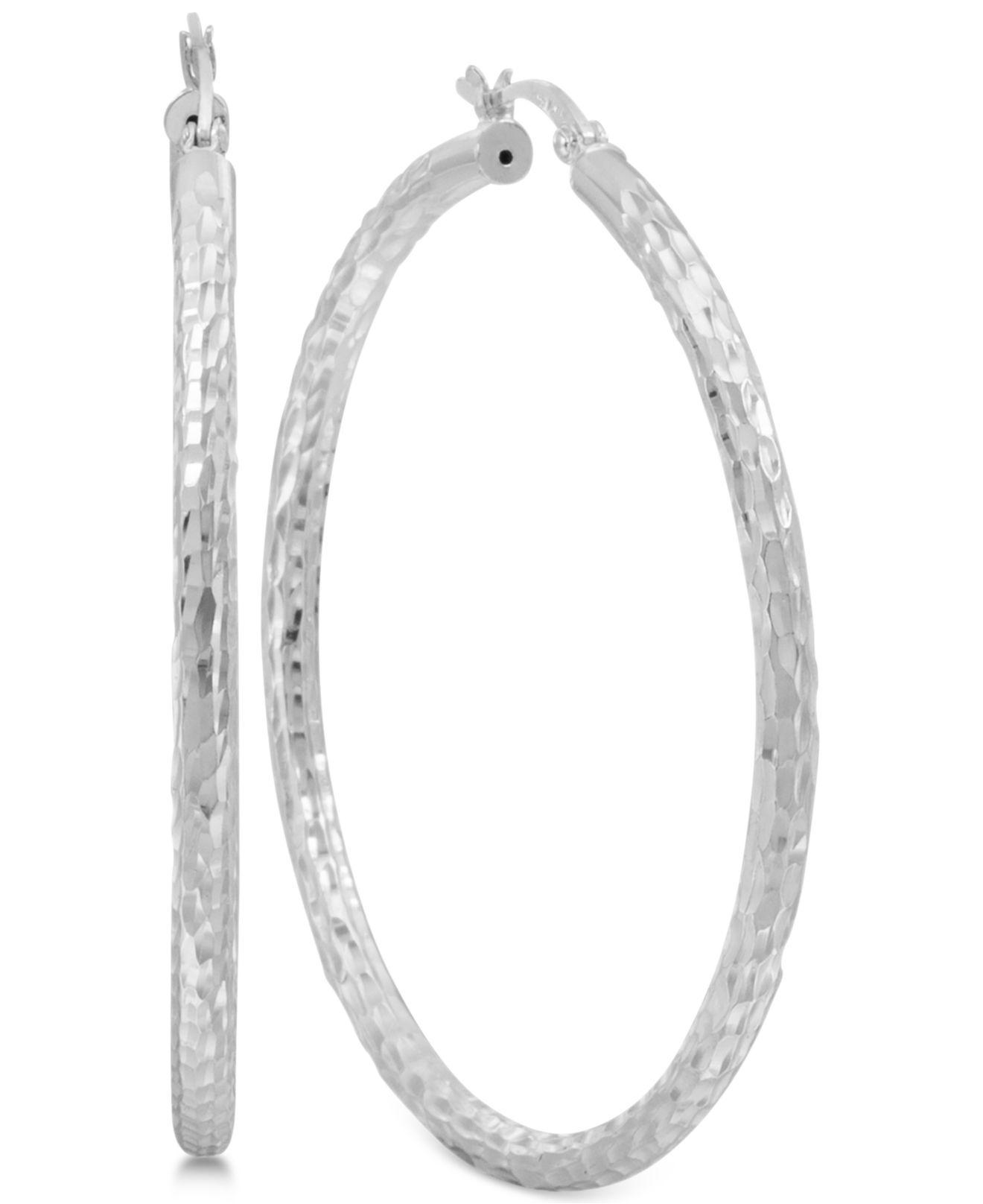 02cce55f1 Lyst - Macy's Thin Textured Hoop Earrings In Sterling Silver in Metallic