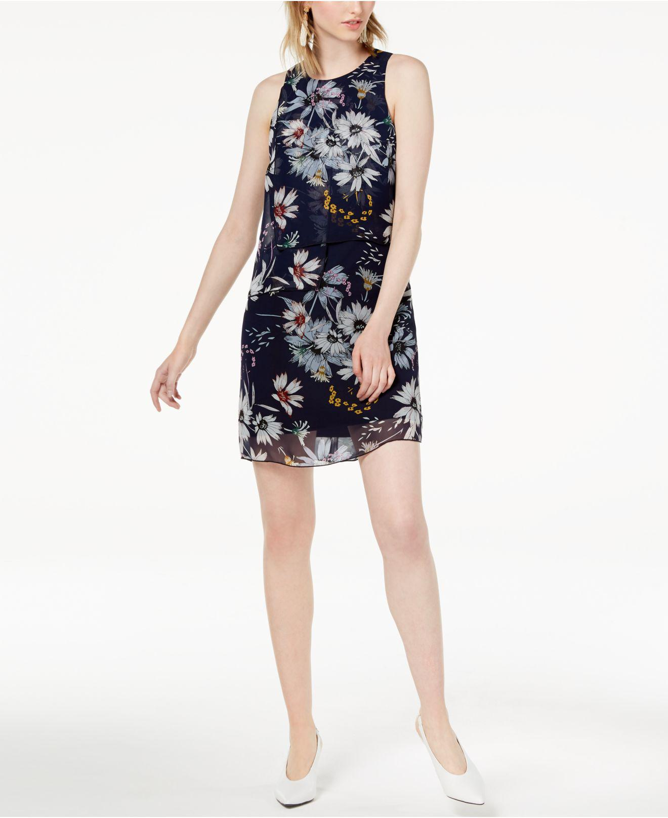 24ab05eb2225 Lyst - Maison Jules Layered Floral-print Short Shift Dress